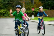 happy kids riding bikes 22095492